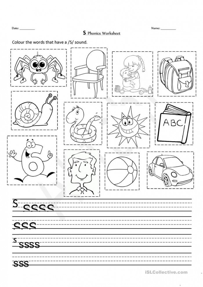 S Phonics Worksheet
