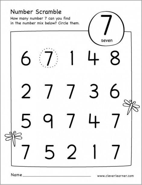 Scrable Number  Printable Worksheets