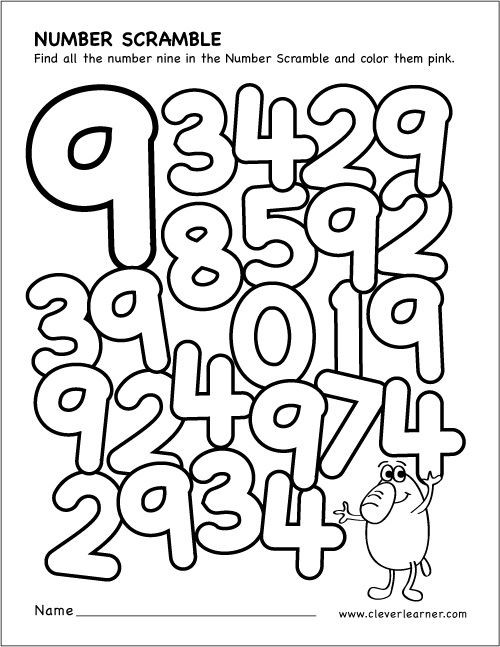 Scrambled Numbers Coloring Worksheet