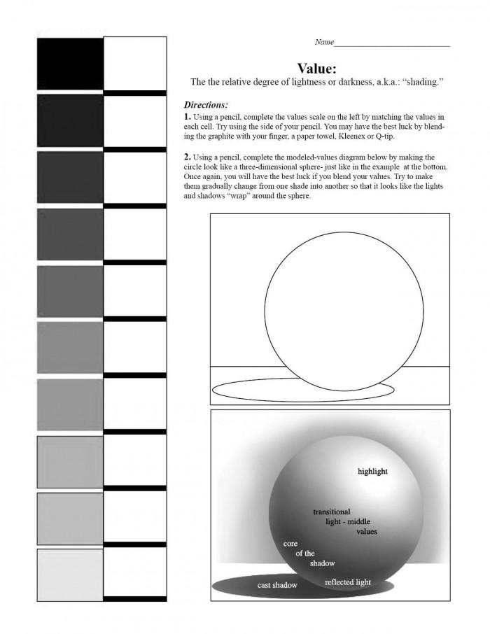 Shadingvaluescaleworksheet With Images