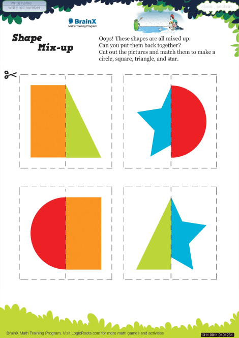 Shape Mix Up Math Worksheet For Kindergarten