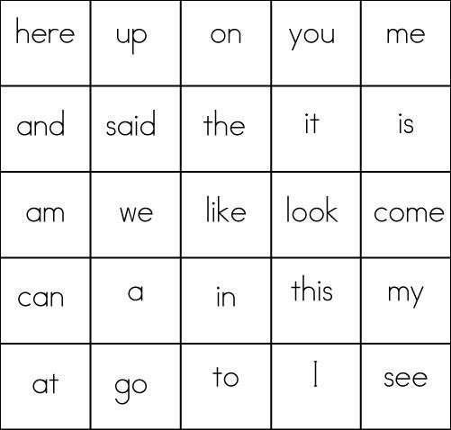 Sight Word Games Bingo