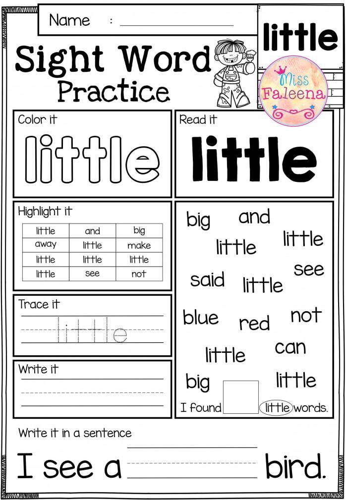 Sight Word Practice Pre