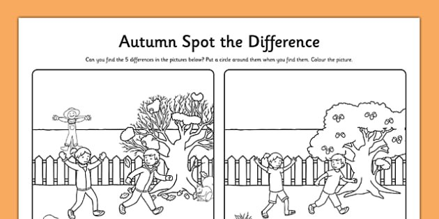 Spot The Difference Autumn Colouring Worksheet