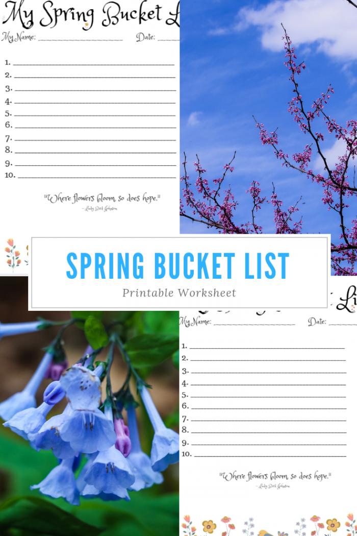 Spring Bucket List Printable Worksheet