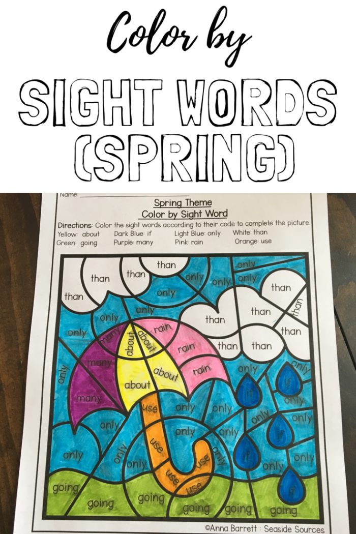 Spring Color By Sight Words With Images