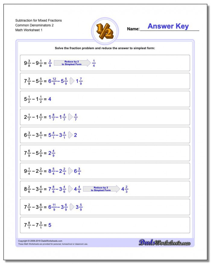 Subtracting Mixed Fractions With A Common Denominator