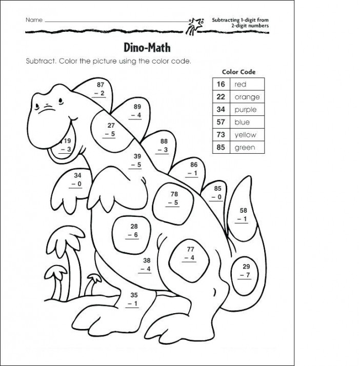 Subtraction Coloring Worksheets 99Worksheets