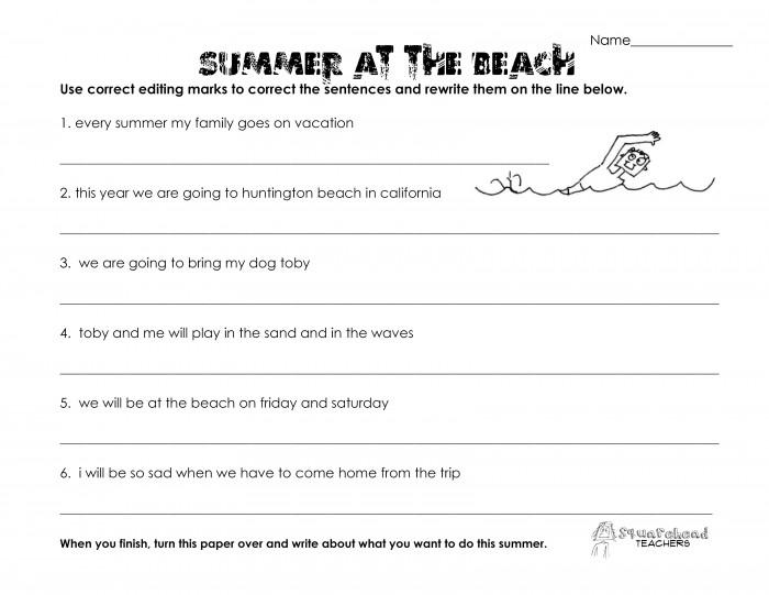 Summer At The Beach Grammar Worksheet