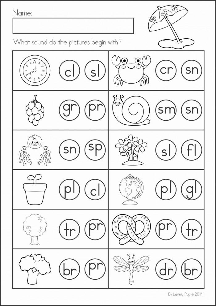 Beginning Blends Worksheets Kindergarten