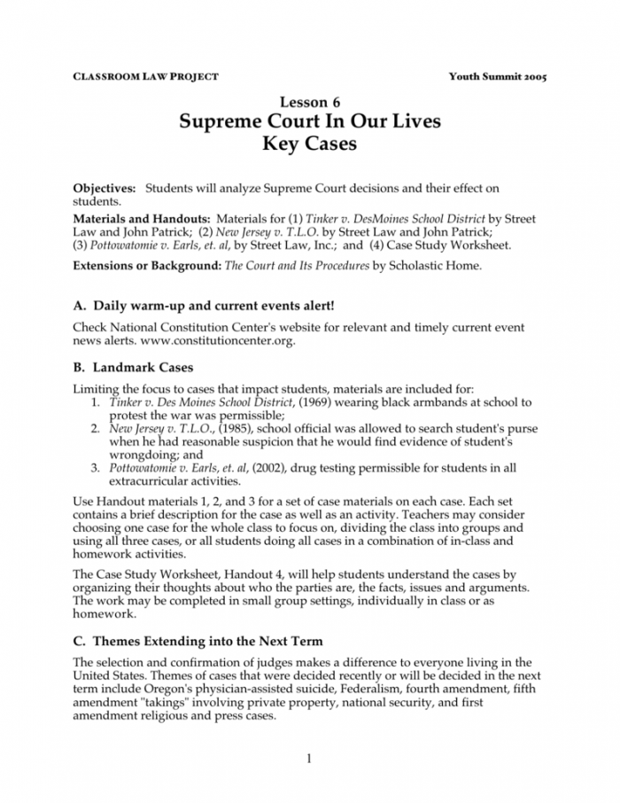 Supreme Court In Our Lives Key Cases