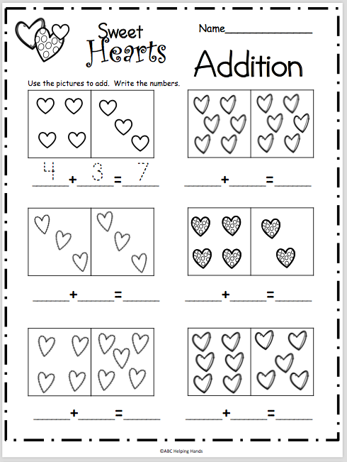 Sweet Heart Addition Worksheet