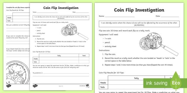 Tas Coin Toss Probability Investigation Worksheet