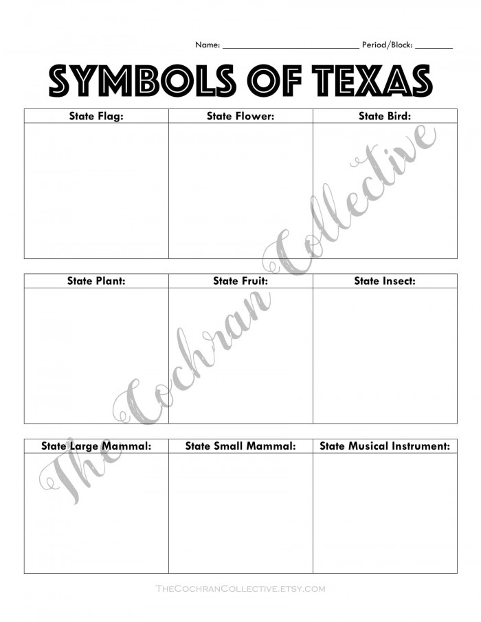 Texas State Symbols Worksheet Printable