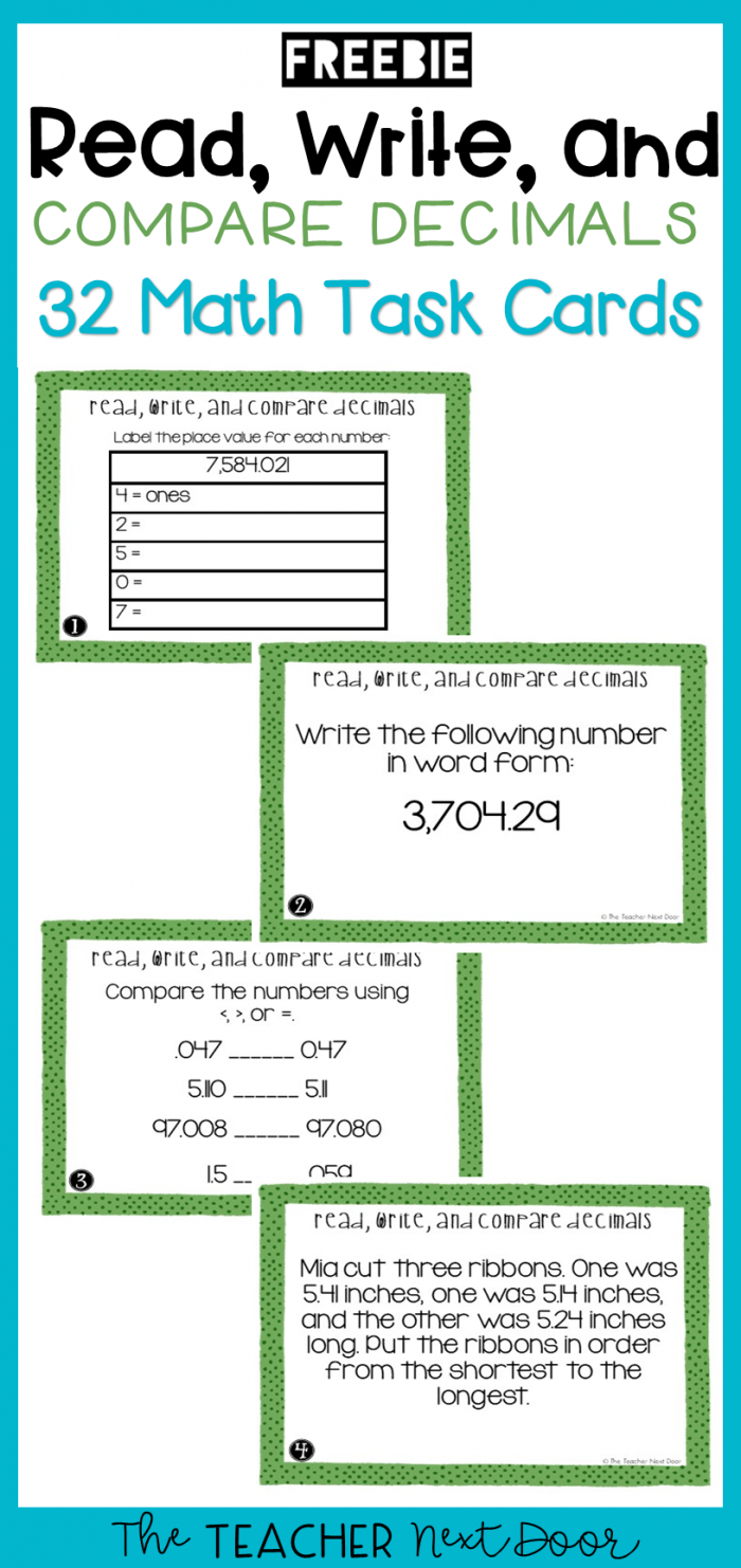Th Grade Read  Write  And Compare Decimals Task Cards Freebie