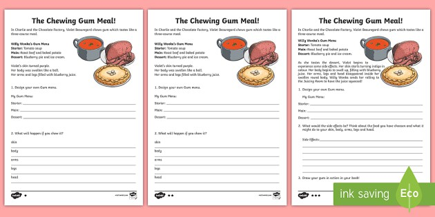 The Chewing Gum Meal Writing Worksheet  Worksheet