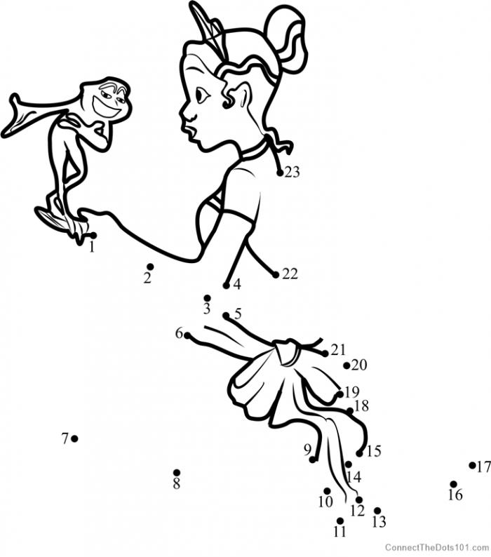 The Princess And The Frog Dot To Dot Printable Worksheet