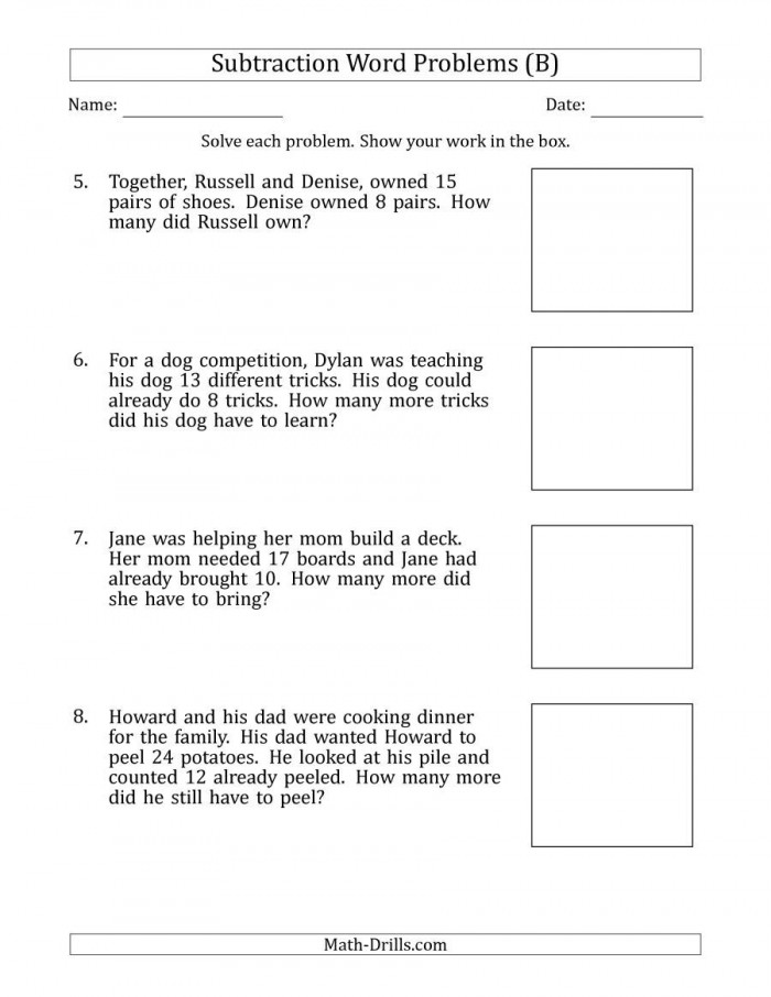 The Subtraction Word Problems With Subtraction Facts From  To