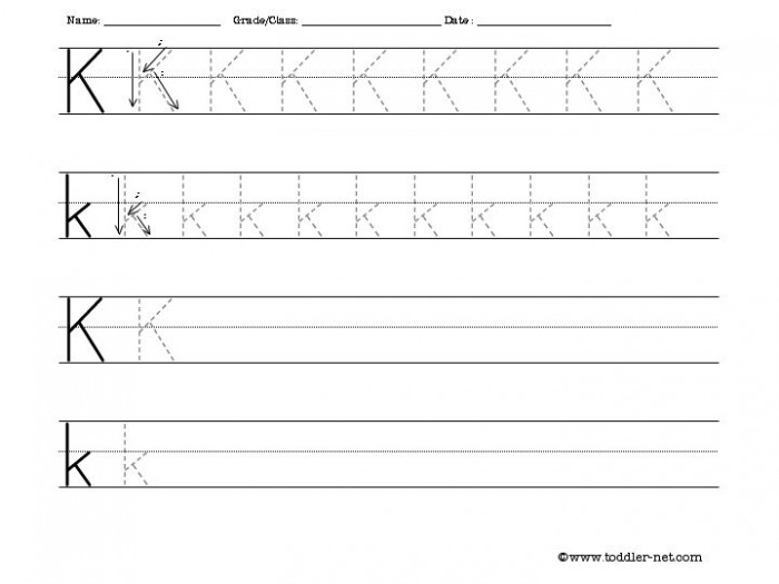 Tracing And Writing Letter K Worksheet