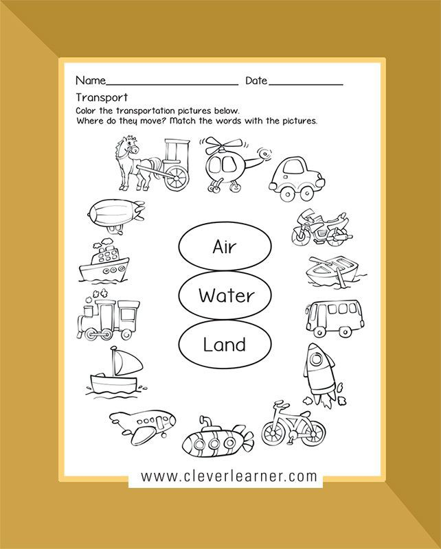 Transport Activity Sheets Land  Air  Water  Others Preschools