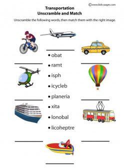 Unscramble Words: Transportation