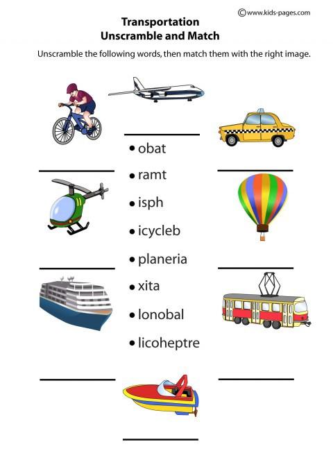 Transportation Unscramble Worksheet