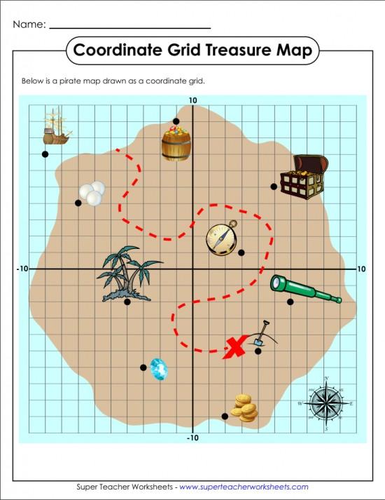 Treasure Map Coordinate Grid