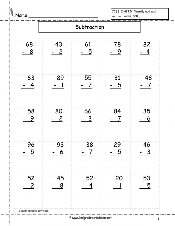 Two Digit Subtraction Worksheets