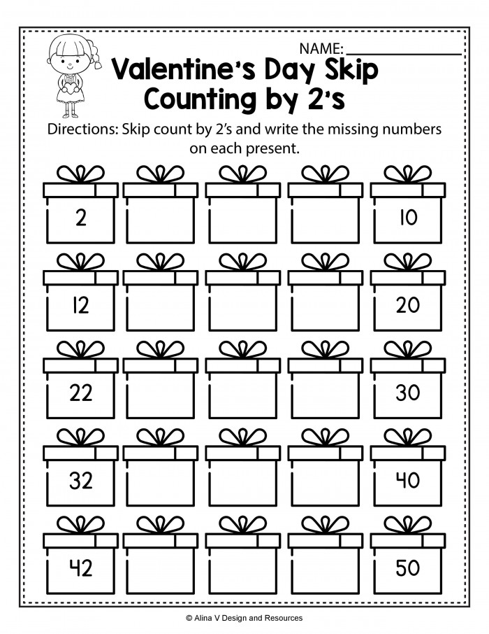 Valentines Day Skip Count By S Math Worksheets And Activities