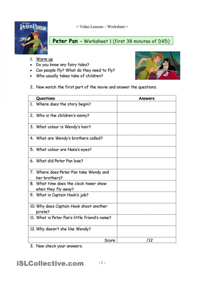 Video Worksheets For The Classic Disney Movie Peter Pan With