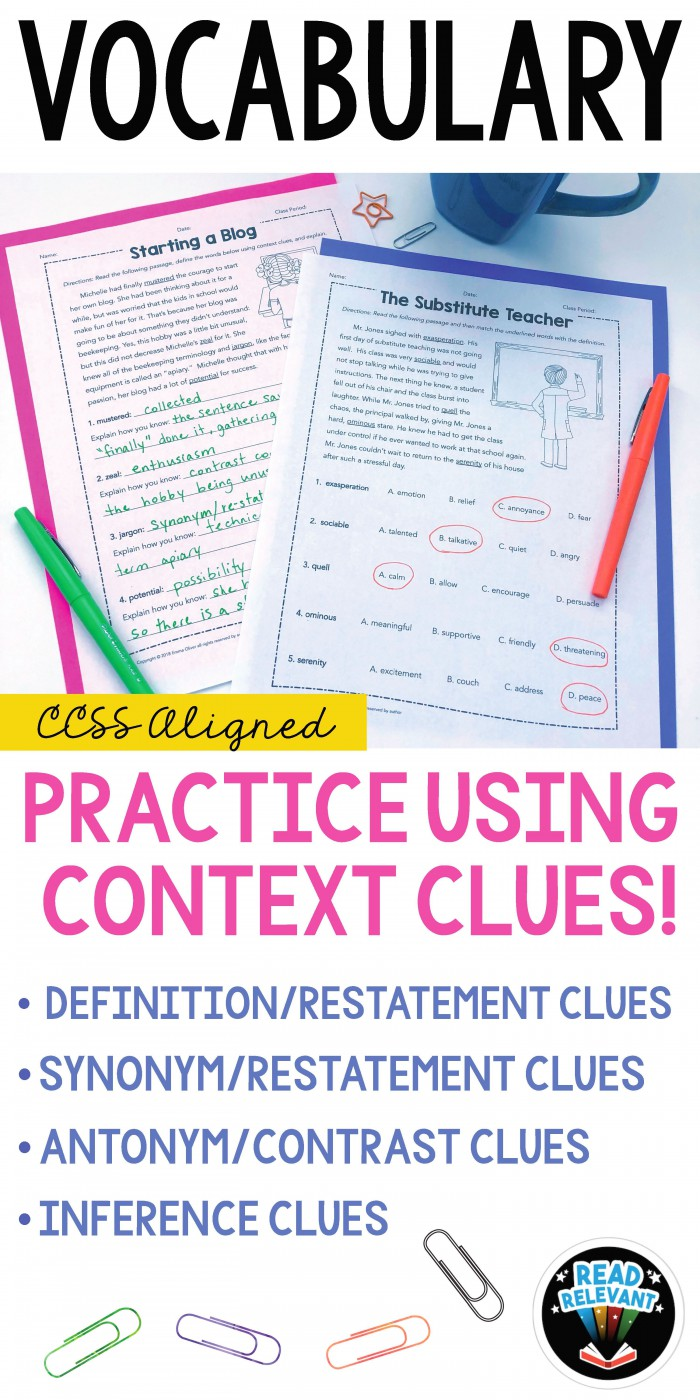 Vocabulary Practice Using Context Clues Worksheets With Images