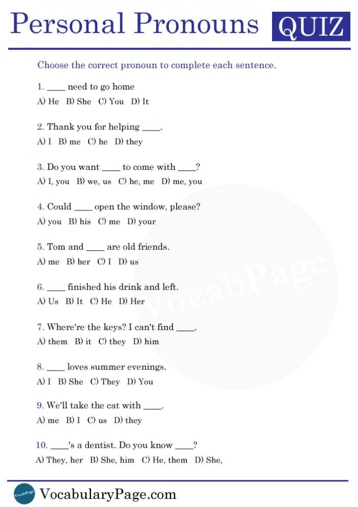 Vocabularypagecom Personal Pronoun Quiz
