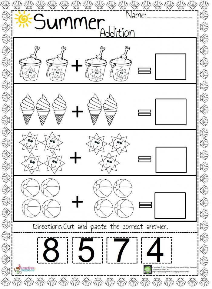 We Prepared An Easy And Funny Summer Themed Addition Worksheet For