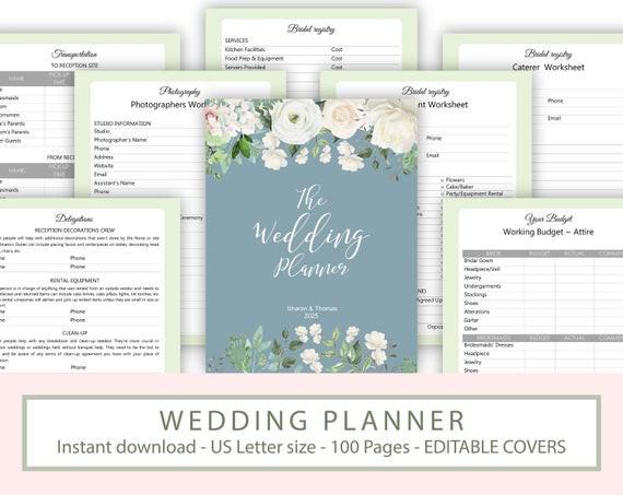 Wedding Planner Printable Greenery Wedding Organizer Diy