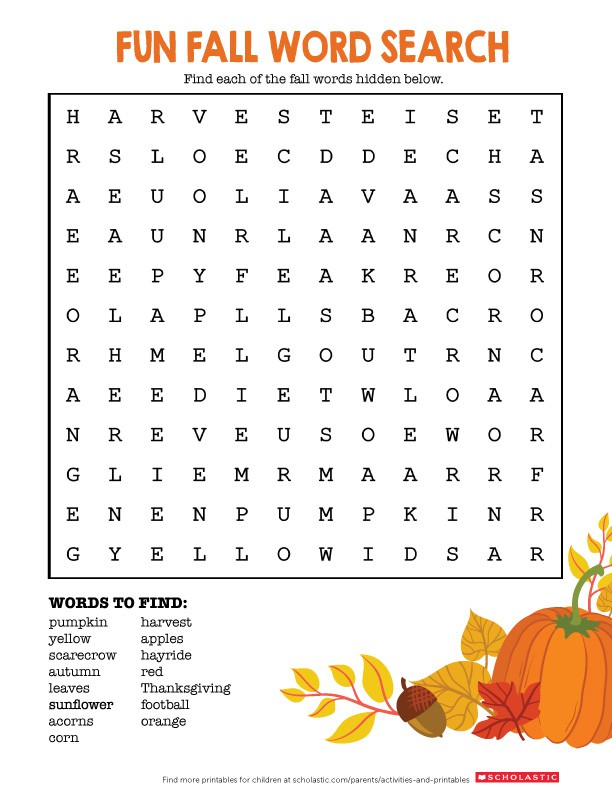 Welcome Fall With This Word Search Printable
