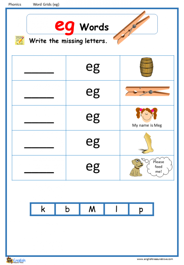 Word Family Eg Word Grids English Phonics Worksheet  English