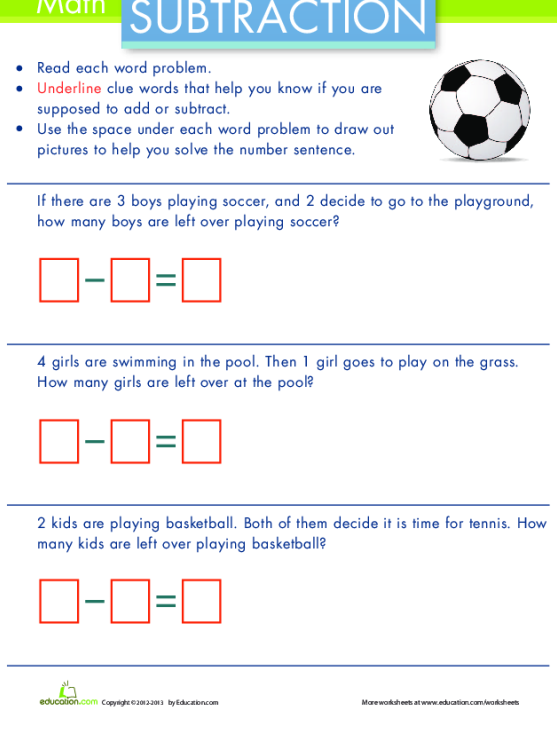 Wordy Word Problems Add Or Subtract Worksheets