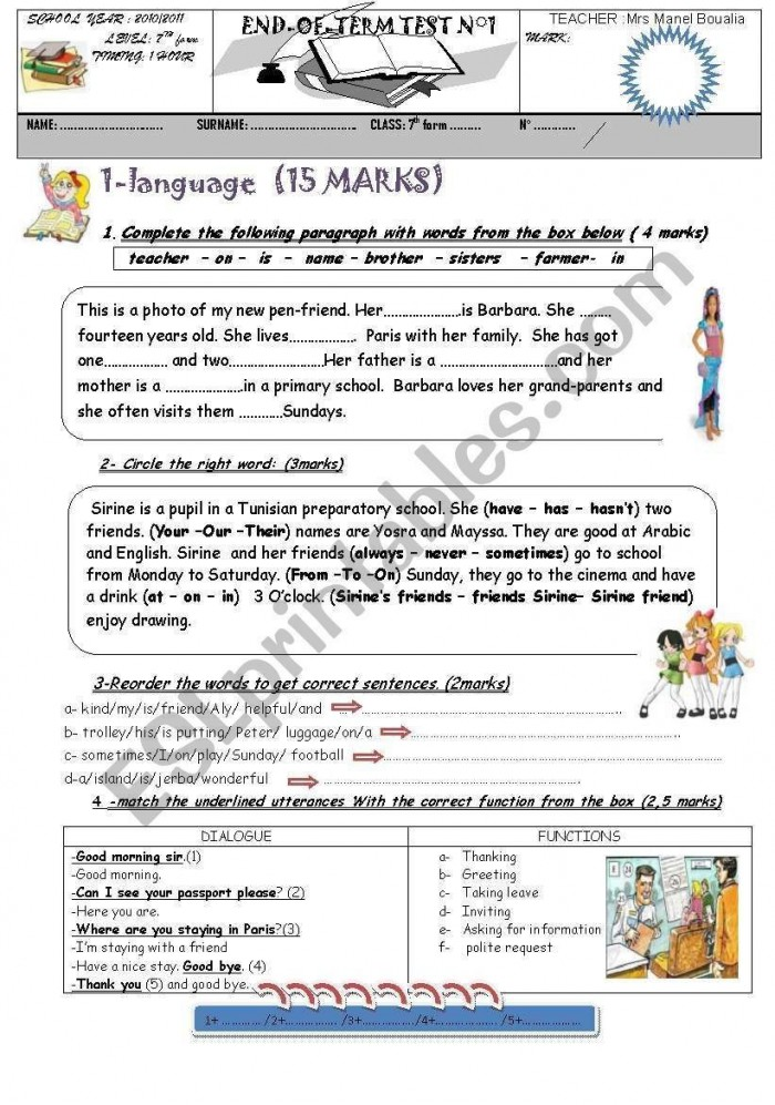 Worksheet End Of Year Assessment Sentence Writing In