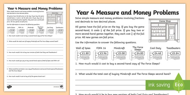 Year  Fractions Of Money Problems Worksheet Teacher Made