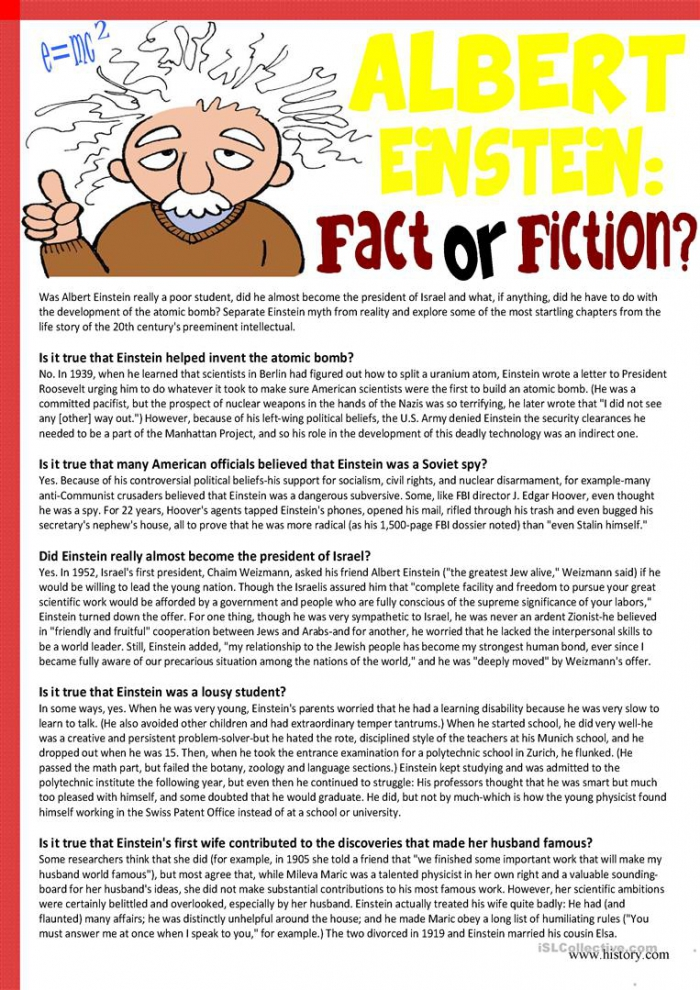 Albert Einsteinfact Or Fiction Reading Comprehension