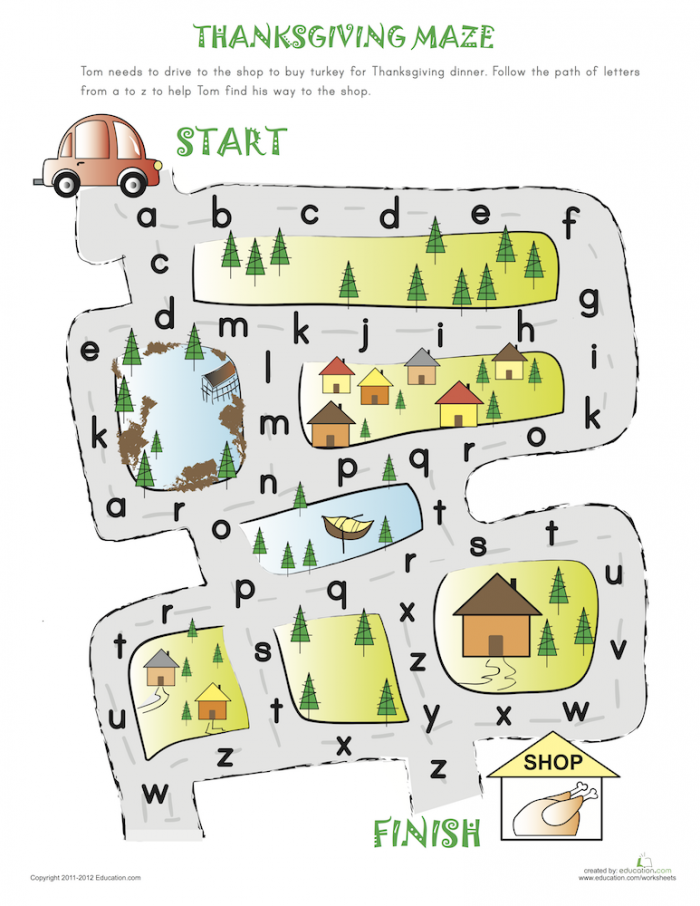 Alphabet Maze To Thanksgiving In  With Images
