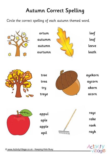 Autumn Spelling Worksheets