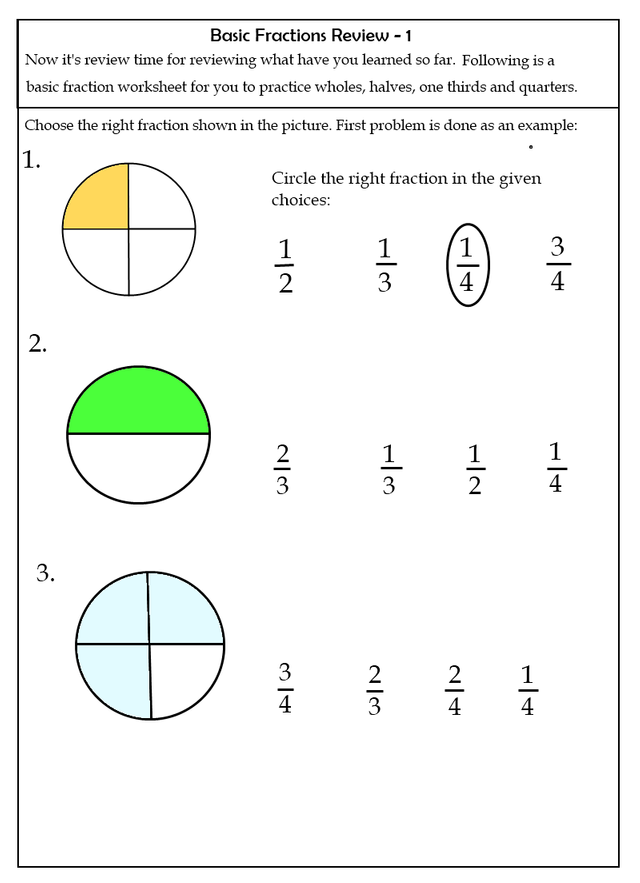 Basic Fractions Worksheets  Steemit
