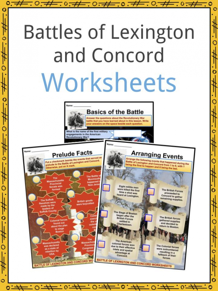 Battles Of Lexington And Concord Facts  Worksheets   History For Kids