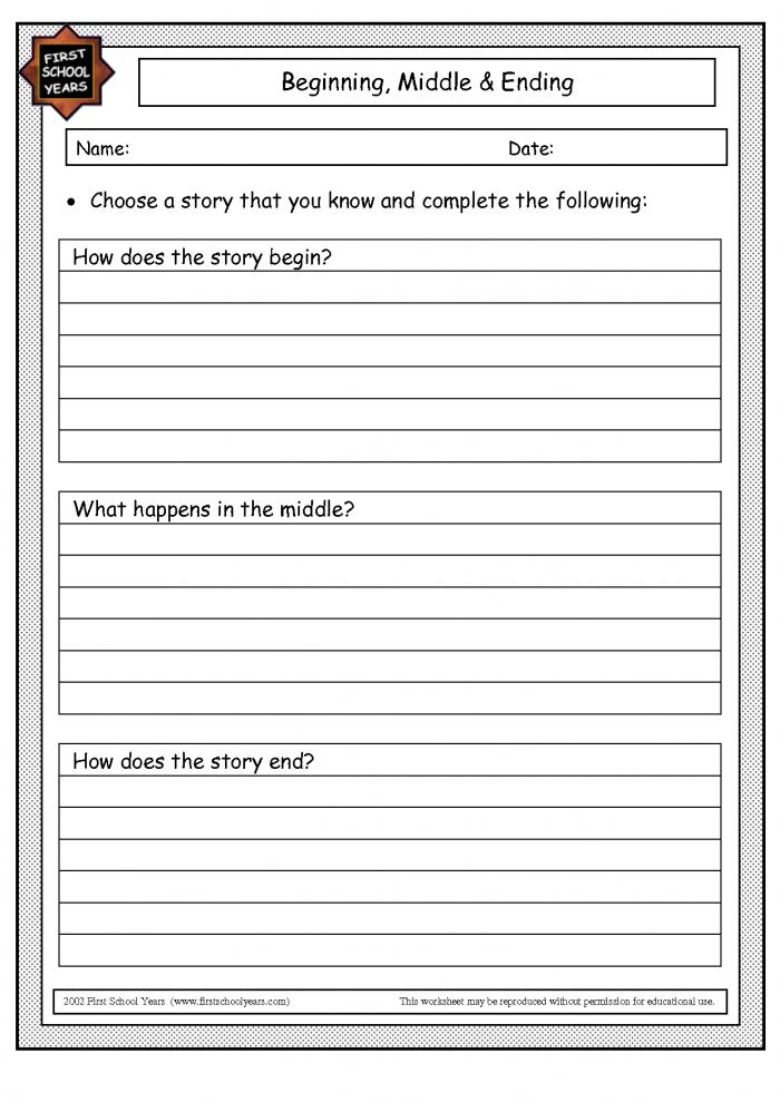 Beginning Middle End Worksheet Kindergarten Images