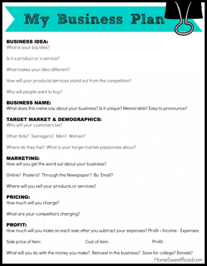 Business Plan Worksheet For Students  Business Form Templates