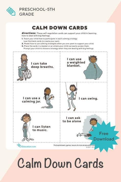 Calm Down Cards For Young Children