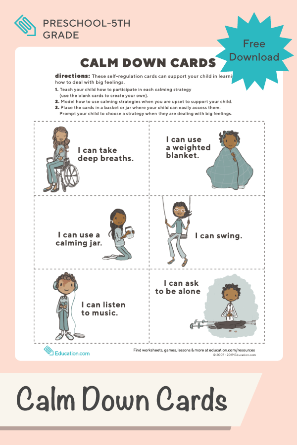 Calm Down Cards For Young Children In