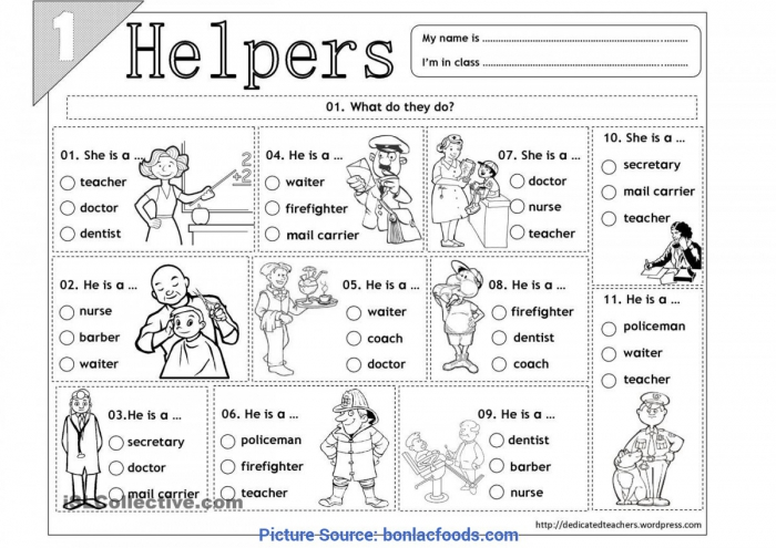 Community Helpers Matching Worksheets