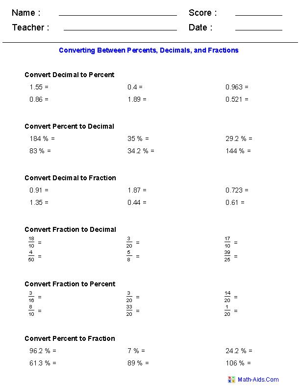 Converting Between Percents  Decimals  And Fractions Worksheets